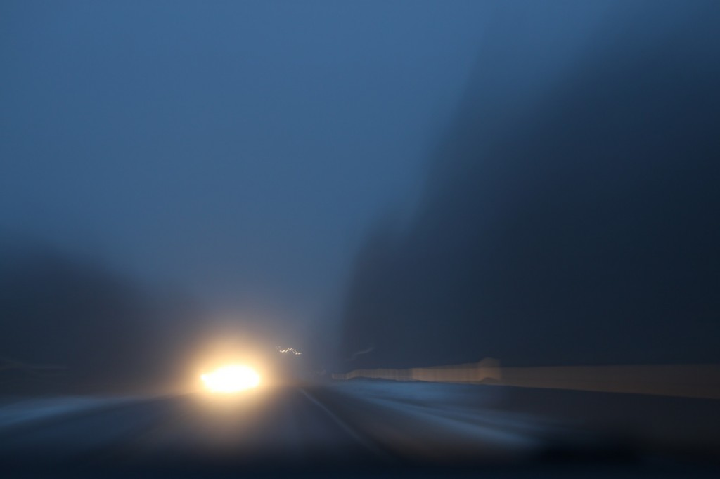 Car Lights at Fog Evening