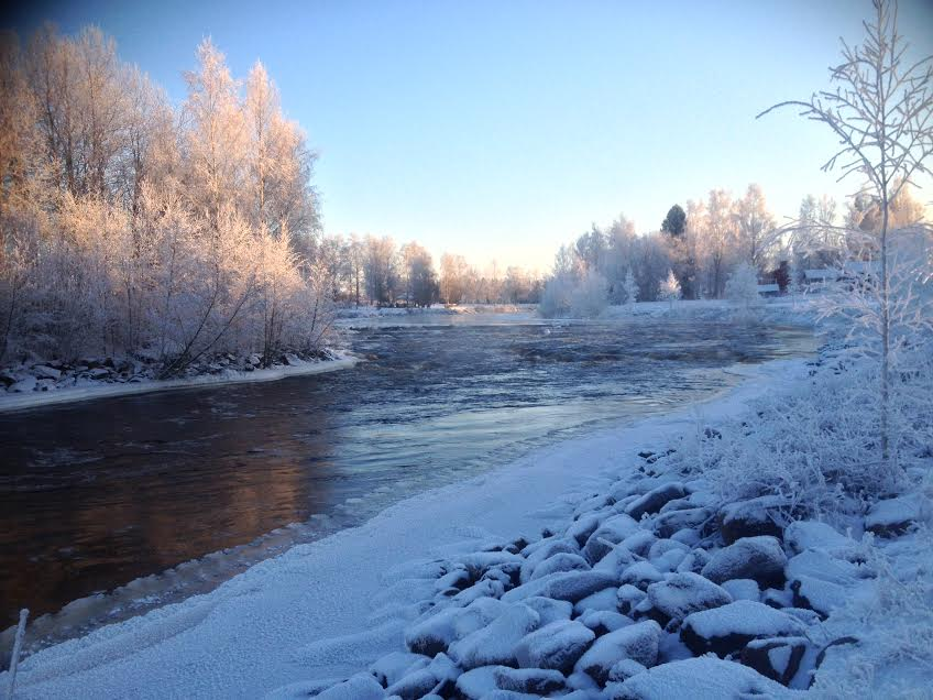 River in cold winter day