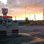 Gas Station at Morning Sunrise