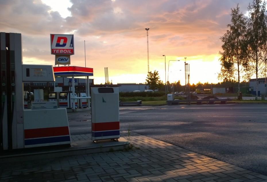 Gas Station at Morning Sunrise