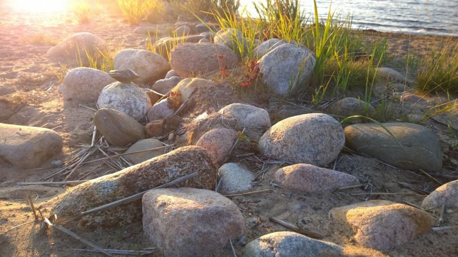 Stones on the Sand Beach